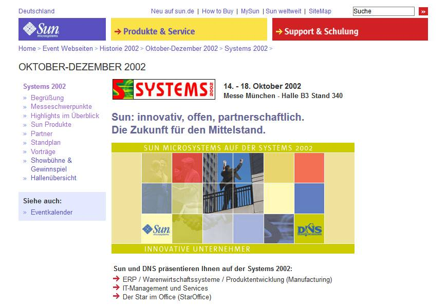Webdesign - SUN Mircrosystems